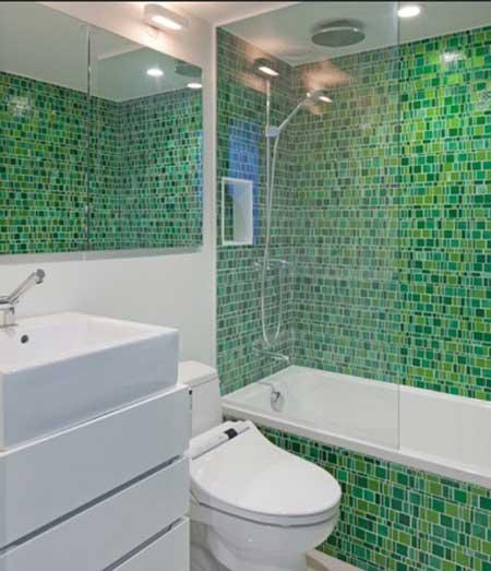 fotos de Banheiros pequenos verdes