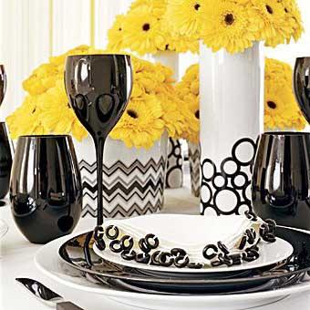 Imagens e dicas de Casamento amarelo preto e branco