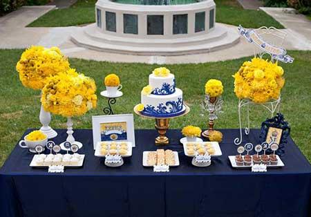 fotos de Casamento azul royal e amarelo