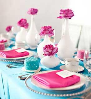 dicas de como decorar Casamento com azul tiffany e rosa