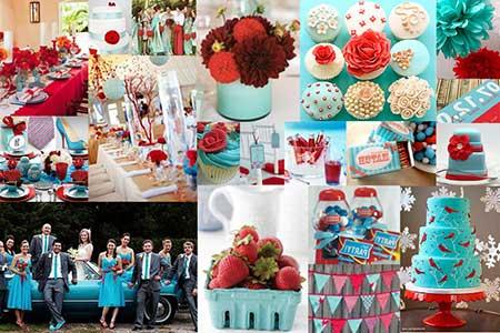 Decoração casamento vermelho e azul turquesa