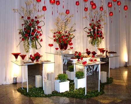 Decoração de casamento Vermerlho e branco flores