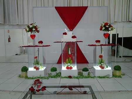 Decoração de casamento Vermerlho e branco vidro