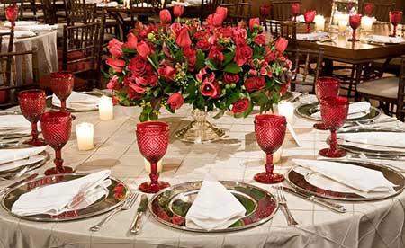 decoração barata para casamento vermelho