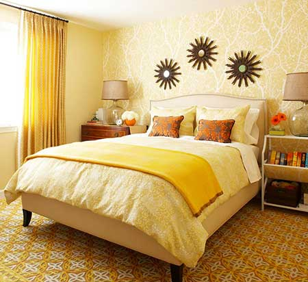 Dicas de Quarto de casal amarelo decorados