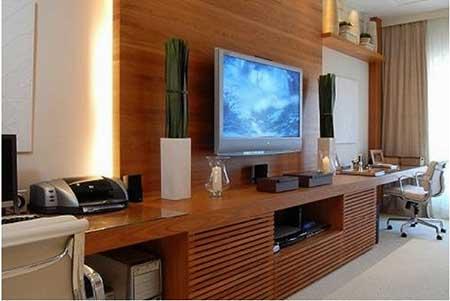 30 dicas decora o da sala de tv pequena simples grande for Sala de estar pequena con escritorio