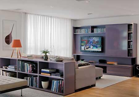 30 dicas decora o da sala de tv pequena simples grande for Como decorar sala grande