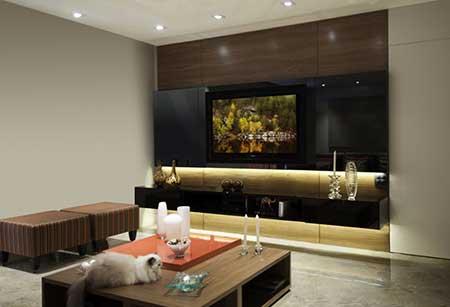 Decoração de sala de TV chique