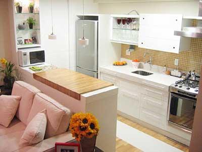 Dicas de como decorar cozinhas pequenas e simples for Cocina americana sala de estar idea