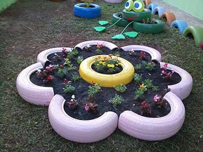 Como decorar com pneus decora o fotos dicas ideias for Modelos de jardines pequenos con llantas