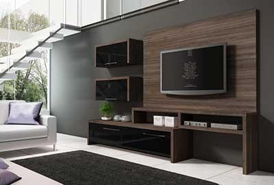 HD wallpapers sala decorada com rack branco e preto