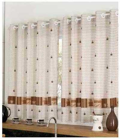 cortina para cozinha moderna marrom