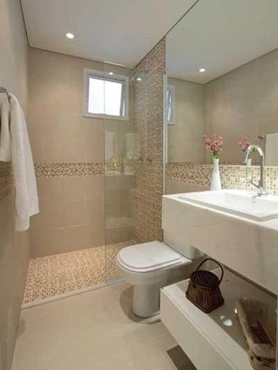 Fotos de Banheiros Decorados com Pastilhas -> Banheiro Com Azulejo Imitando Pastilha