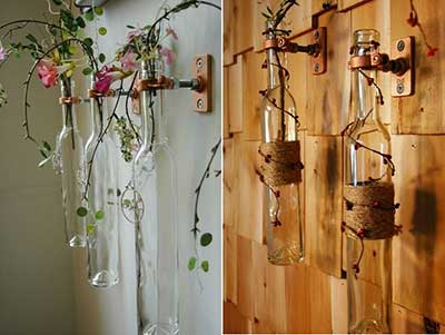 fotos de decoração com garrafas