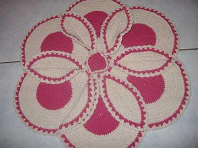 tapete de barbante de Flor simples de fazer