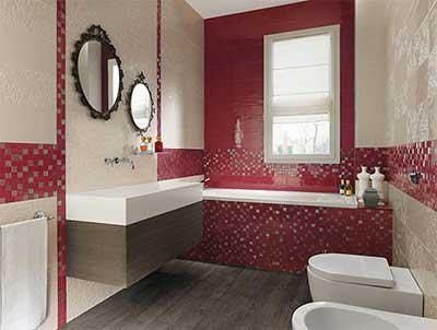 Fotos de banheiros decorados com pastilhas for Maroon bathroom ideas