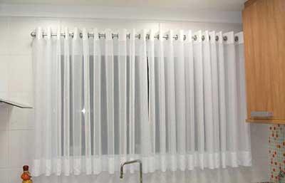 cortina para cozinha moderna transparente