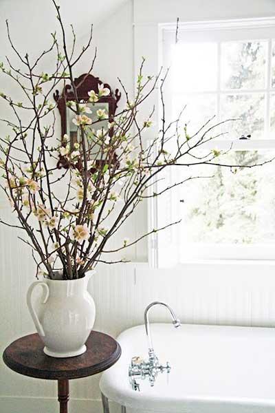 sugestões de decoração com galhos secos