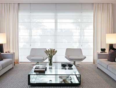 cortina para sala moderna branca