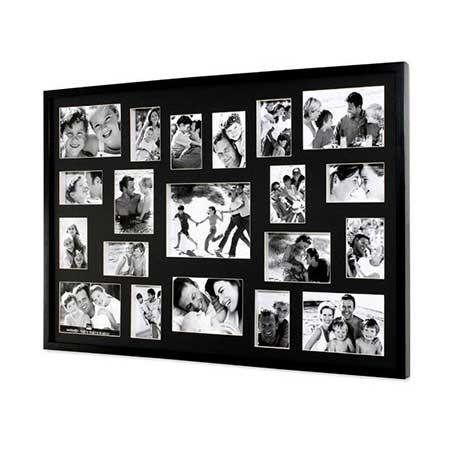 decora o de porta retrato de parede com v rias fotos. Black Bedroom Furniture Sets. Home Design Ideas