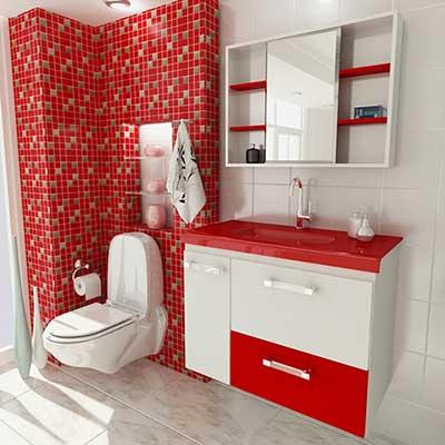 banheiro vermelho decorado
