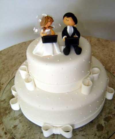 foto de bolo decorado de casamento