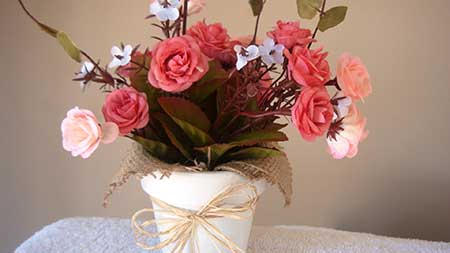dica de arranjo de flor artificial