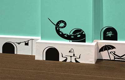 paredes decoradas com adesivos