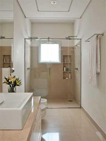 30 Banheiros com Porcelanato Bege, Branco, Preto, Amarelo -> Decoracao De Banheiros Porcelanato