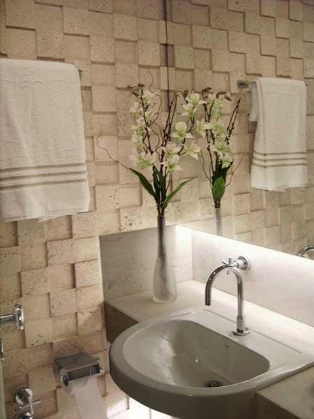ideias decoracao lavabo:Evite colocar lixeiras muito grandes, o ambiente é pequeno e ocupar