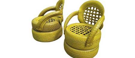 fotos e imagens de artesanato com pneus