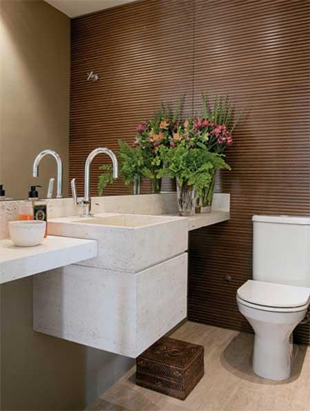 imagens decoracao lavabo : imagens decoracao lavabo:Os itens como registros, porta-papel, porta toalha e torneira ficam