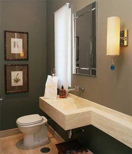 decoracao toalha lavabo:Os itens como registros, porta-papel, porta toalha e torneira ficam
