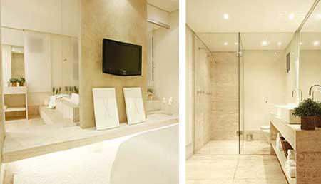 30 Banheiros Com Porcelanato Bege Branco Preto Amarelo