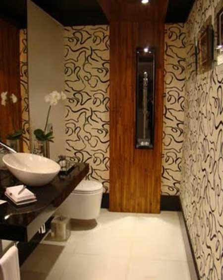 35 fotos e modelos de papel de parede para lavabos - Papel decorado para paredes ...