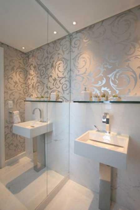 35 fotos e modelos de papel de parede para lavabos - Lavabos de pared ...