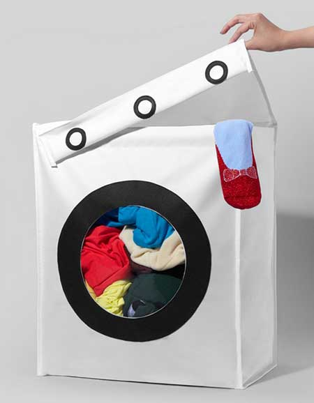 de uma maneira divertida Aposte no cesto de roupa suja com visual de