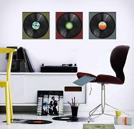 decoração com disco de vinil