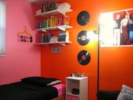 em paredes coloridas