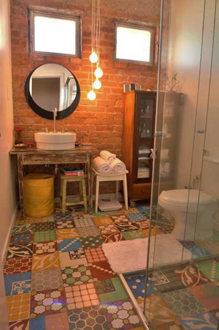 Piso para Banheiro na Reforma e Decoração Fotos e Modelos -> Banheiro Simples Rustico