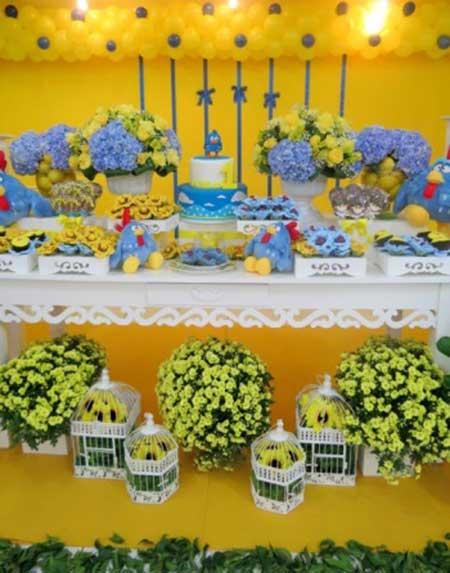decoracao festa infantil azul e amarelo : decoracao festa infantil azul e amarelo:Decoração de Festa Galinha Pintadinha Simples e Fácil